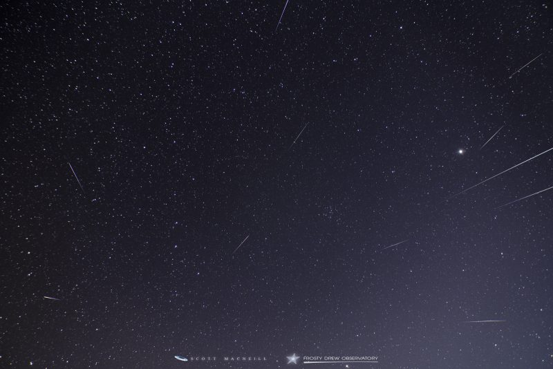 Starry sky with many meteor trails radiating out from one point.