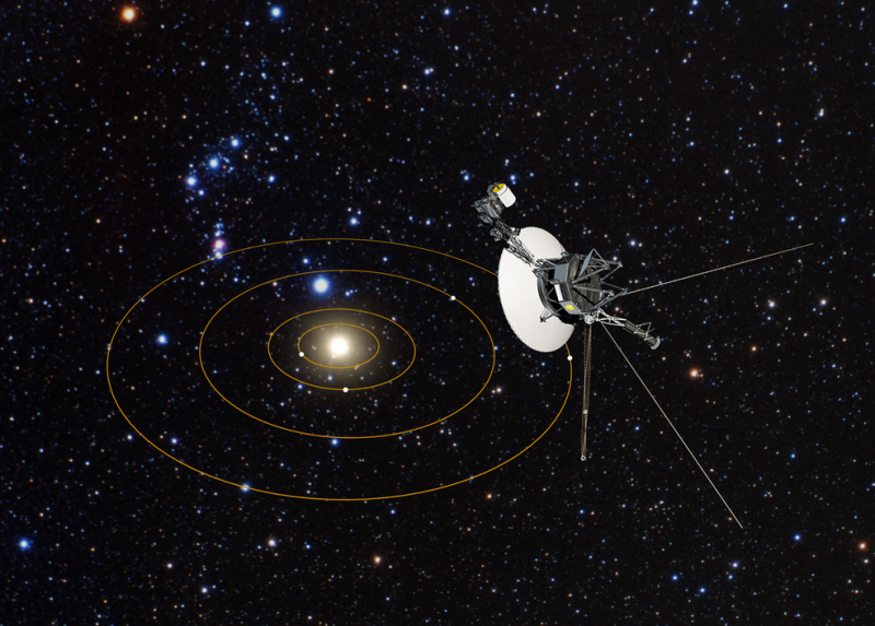 Spacecraft looking back toward our sun and solar system against starry background.
