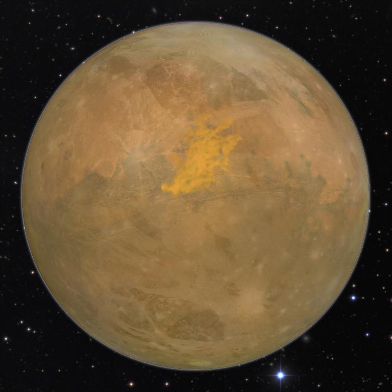 Large tan-brown desert planet.
