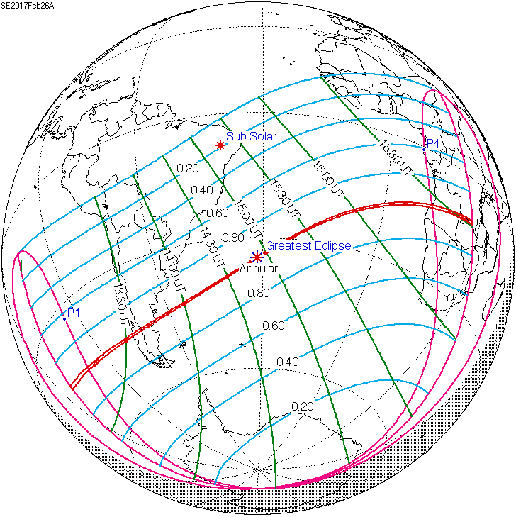 Map via Fred Espenak. Path of the annular eclipse (in red) on February 26, 2017 starts at sunrise over the Pacific Ocean at 13:16 UTC and ends at sunset some 3 and 1/4 hours later in Africa at 16:31 UTC. Click here for a detailed map giving the eclipse times in Universal Time.