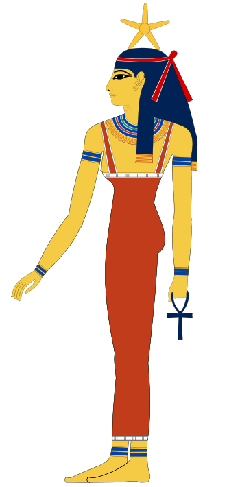 Egyptian wall painting of a tall goddess holding an ankh, and with a star atop her head.
