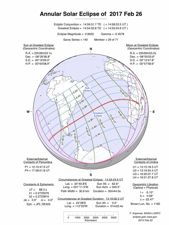 View larger. Map of the 2017 Feb 26 annular eclipse via the NASA Eclipse Website.