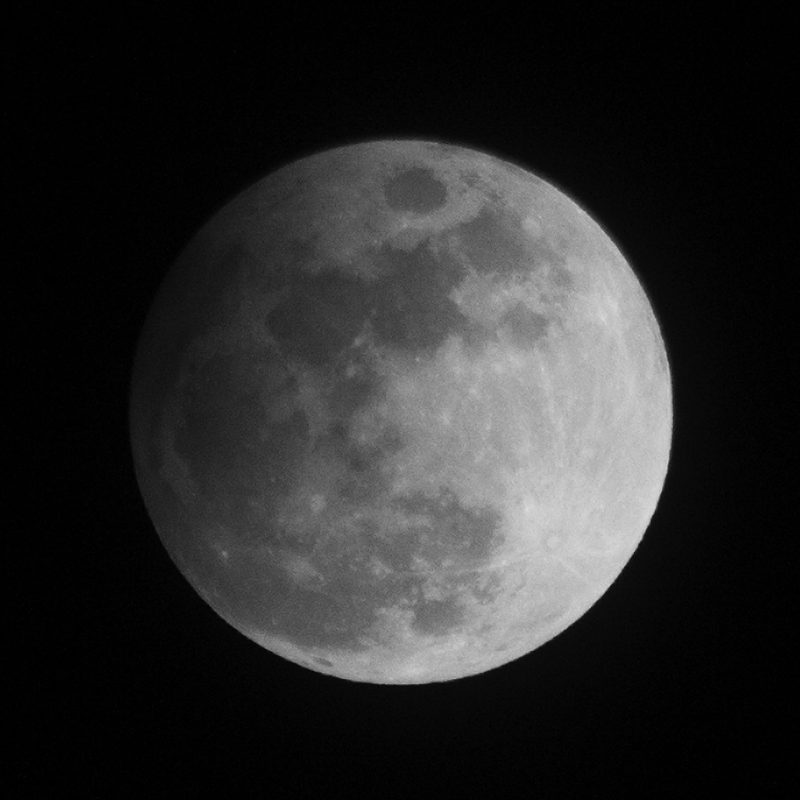 A full moon, with a slight penumbral shadow shading one side.