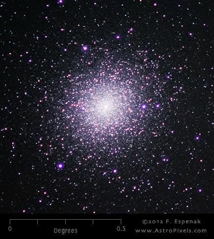 Fuzzy ball of stars, many pinkish.
