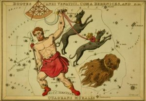 Old colored etching of constellations with a hunter in Greek garb and two dogs.