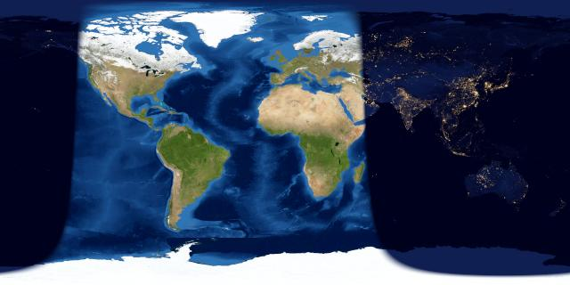 Worldwide map via EarthView. The day and night sides of Earth at the instant of the March full moon (2017 March 12 at 14:54 Universal Time). The shadow line at left indicates sunrise March 12 (where the moon is setting in the west) and the the shadow line at right represents sunset March 12 (where the moon is rising in the east.)