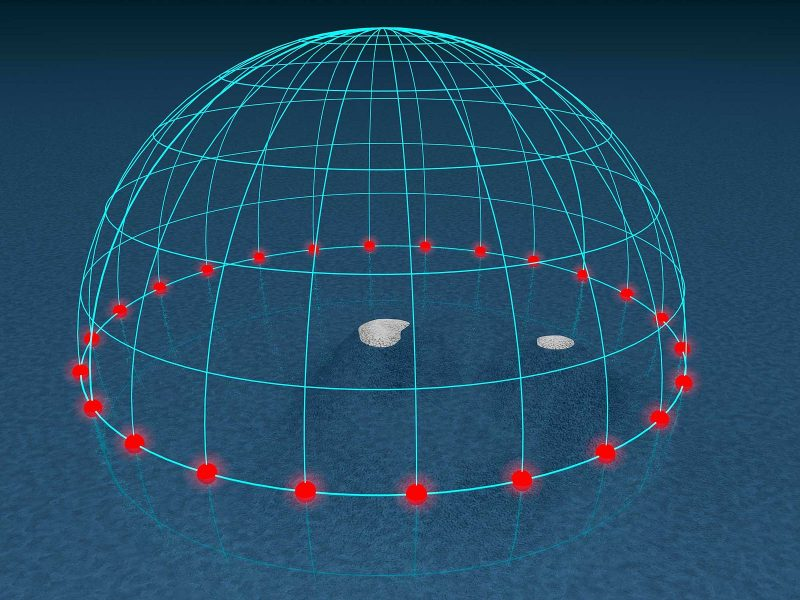 Hemispherical grid with red dots around equator.