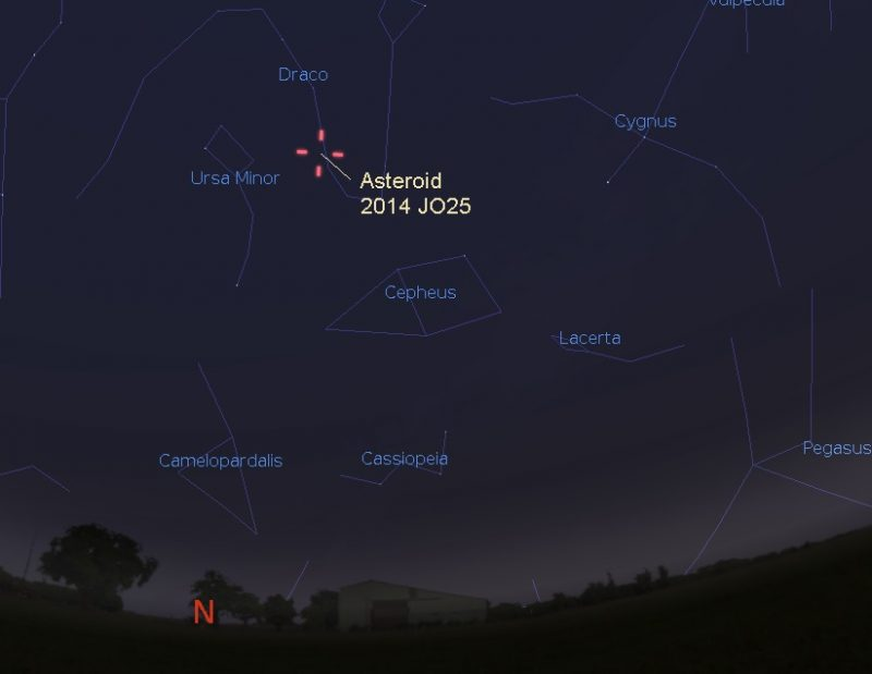 At 3:40 a.m. Central Time on April 19, asteroid 2014 JO25 will be located in front of the constellation Draco the Dragon, as seen here. Illustration by Eddie Irizarry using Stellarium.