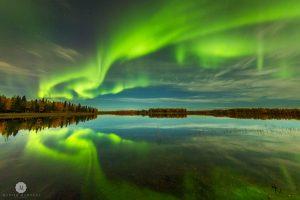 Swirling green aurora in Alaska.