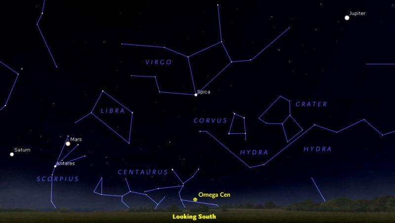 Star chart of labeled constellations, including globular cluster Omega Centauri.