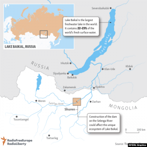 A map showing the area around Lake Baikal.