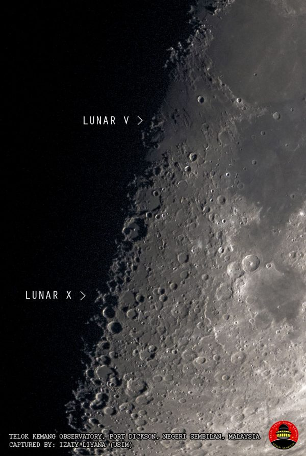 Closeup of boundary between light and dark areas of the moon with Lunar V and X labeled.
