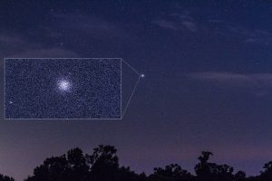 Fuzzy dot in sky with enlargement showing larger fuzzy dot with some star detail.