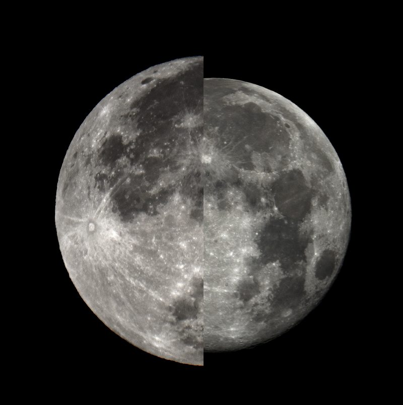 Two photos of half the moon facing each other. The one on the left is bigger.