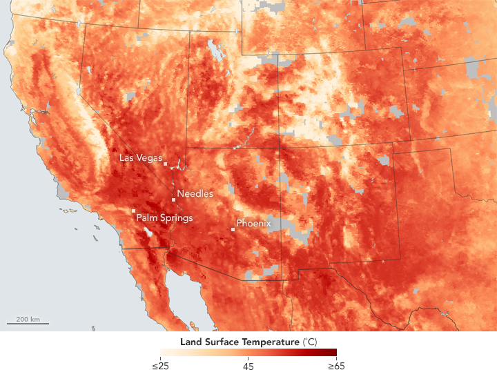 This Map Shows The Heat Wave As Observed By Satellite On June 21 2017 Note That It Depicts Land Surface Temperatures Lsts Not Air Temperatures