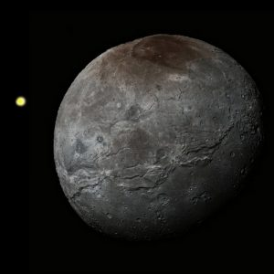 Simulation showing relative sized of Sun and Charon from Pluto