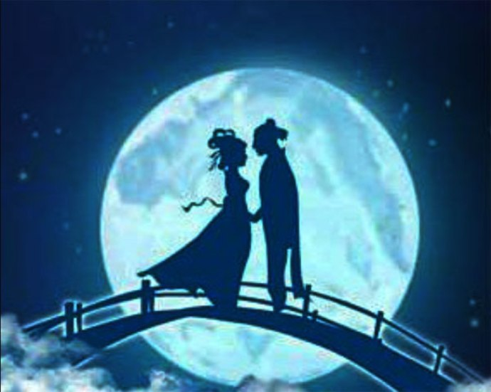 Two lovers standing on a bridge in the clouds, silhouetted against the moon.