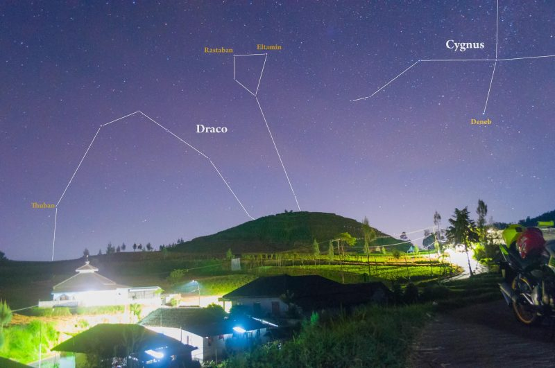 Landscape with lines indicating constellations Draco and Cygnus above horizon.