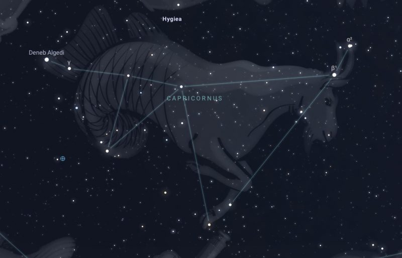 Capricornus the sea-goat star chart with constellation drawn in over stars.