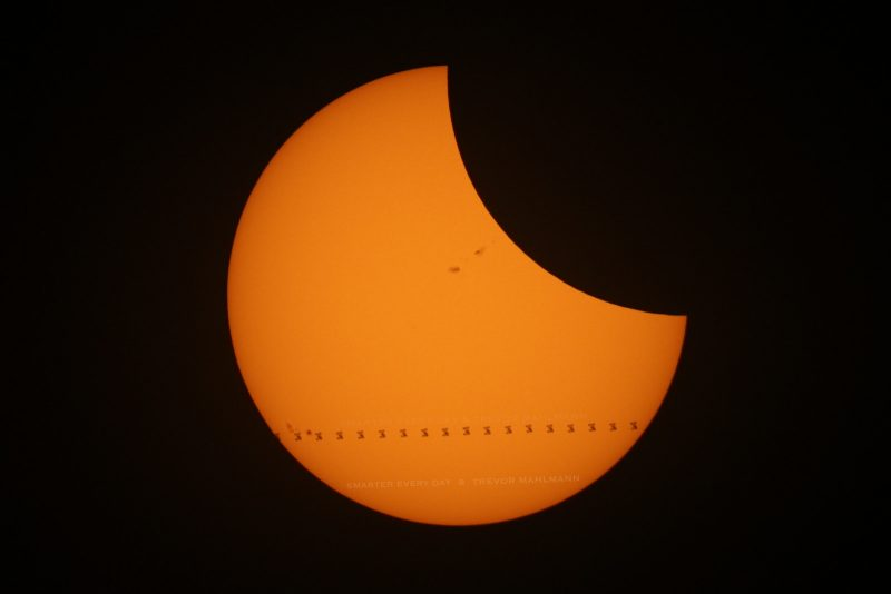 Space station transits sun during eclipse