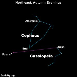 A star map showing Cepheus and Cassiopeia, with the location of Polaris and Gamma Cephei.