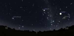Star chart showing Fomalhaut, Saturn and Jupiter.