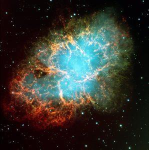 Hubble Space Telescope image of the Crab Nebula.