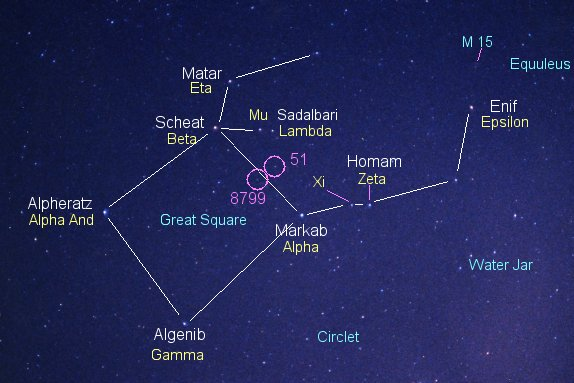 Chart of constellation Pegasus with 10 stars labeled.