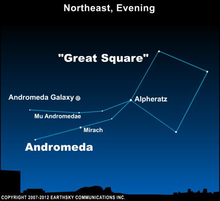 Star chart with Great Square and Andromeda constellations and Andromeda galaxy marked.