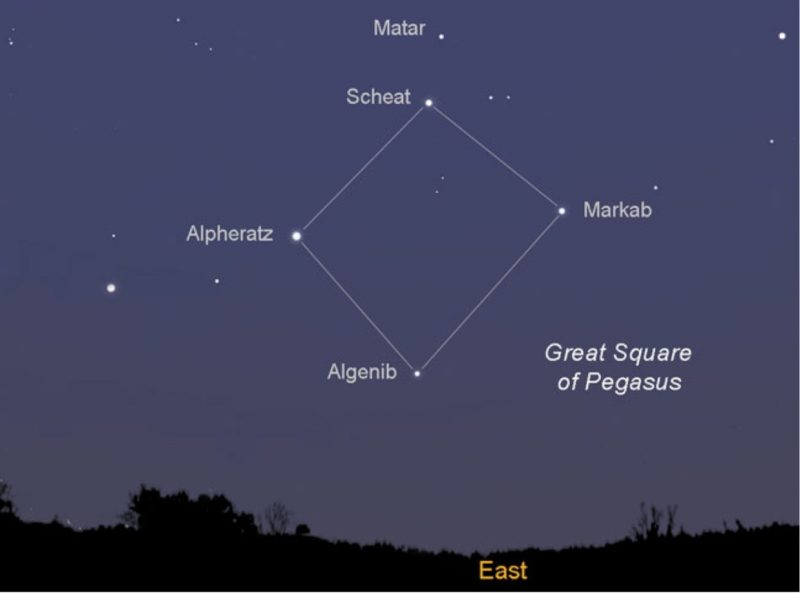 Sky chart with Great Square stars connected with white lines and east marked.