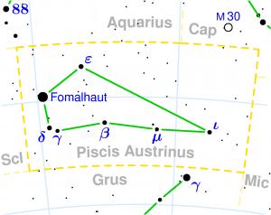 Constellation chart showing Piscis Austrinus and Fomalhaut.