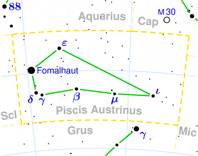 Constellation chart showing Piscis Austrinus and Fomalhaut.