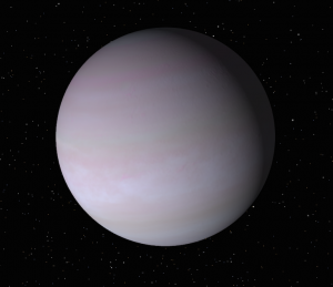 A artist's conception of Tadmor, showing a round purplish-grey plate with faint darker purple bands across it.