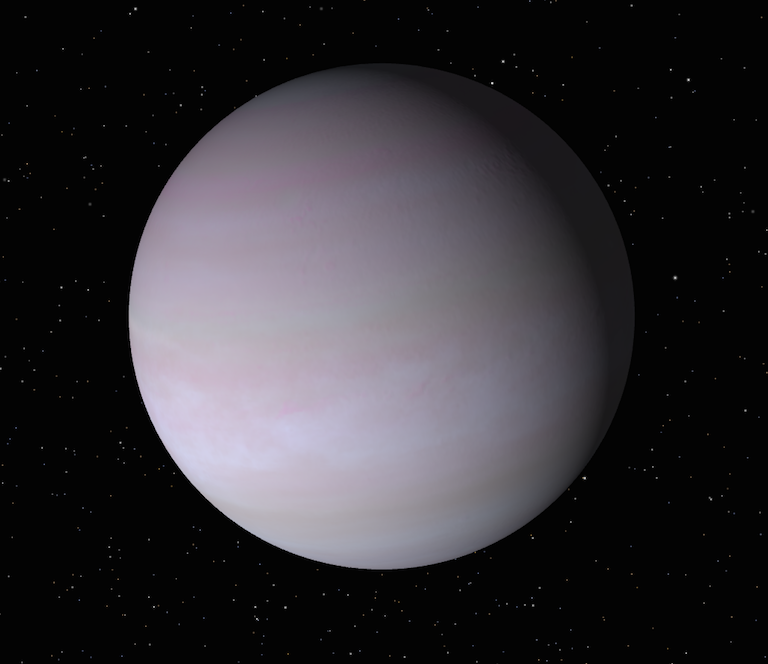 A round purplish-grey sphere with faint darker purple bands across it.