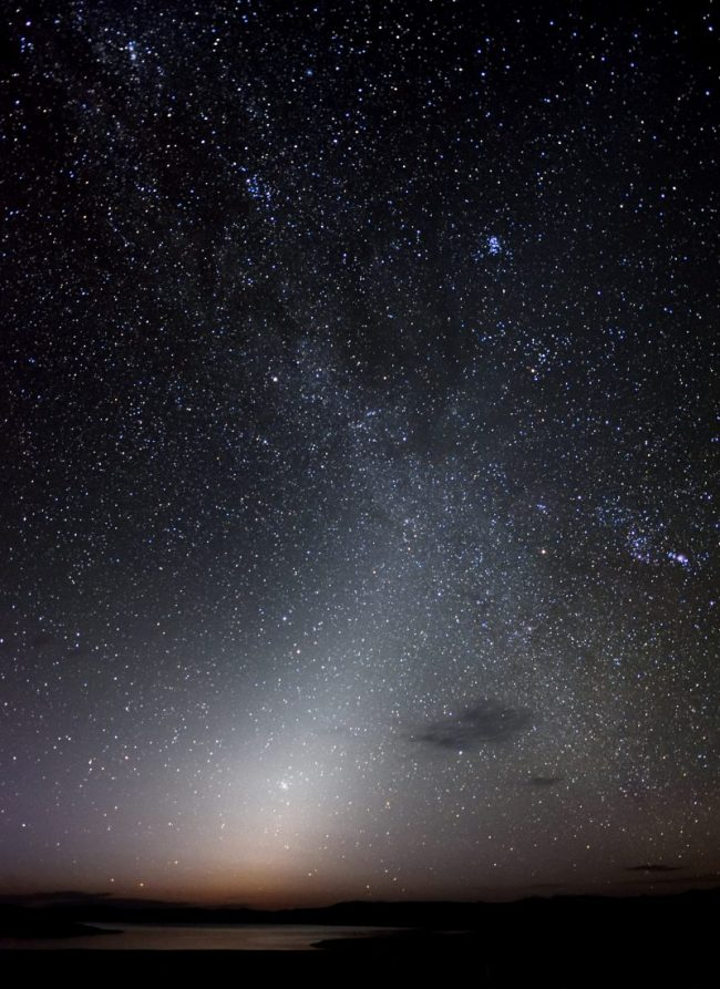 Zodiacal light before dawn in star field.