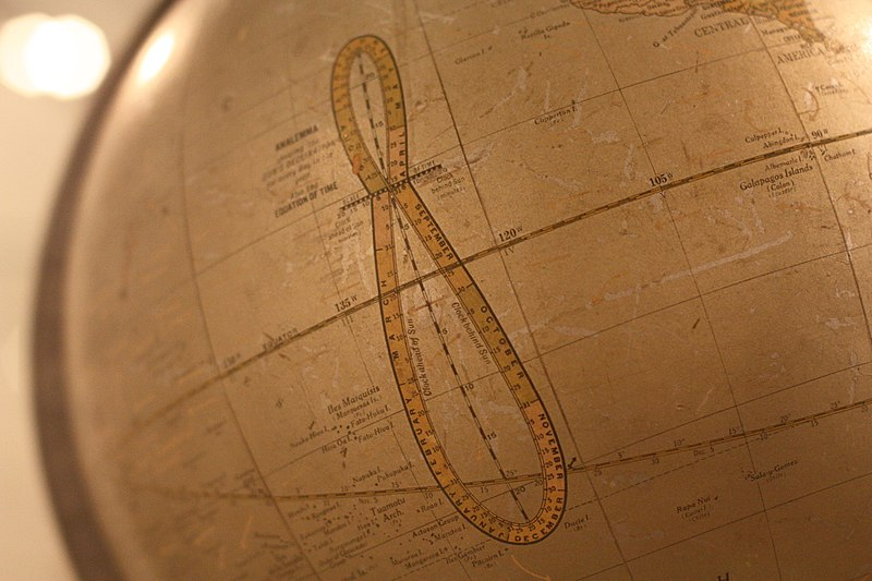 An old Earth globe with a figure 8 shaped line marked like a ruler crossing the equator.