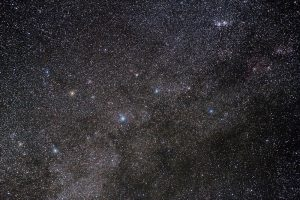 Image of the bright stars in Cassiopeia within a rich field of fainter stars.