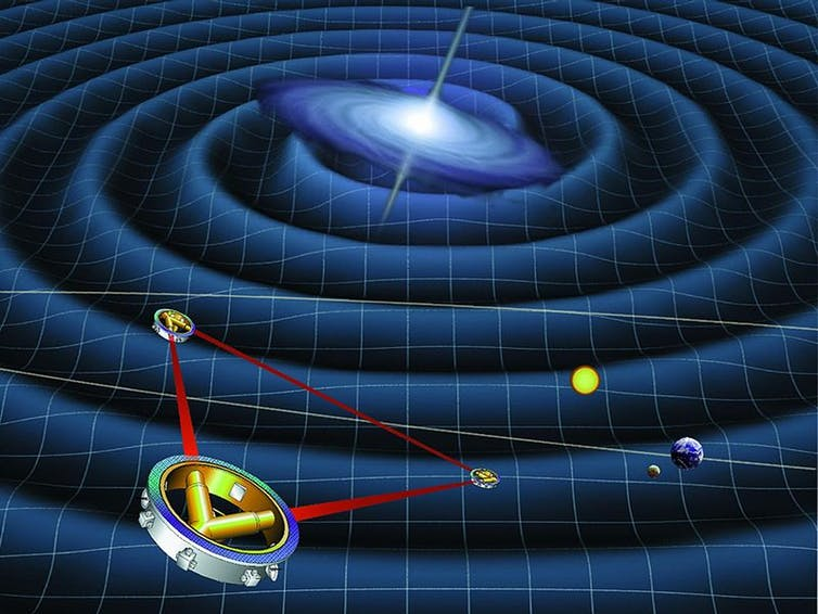 Spacecraft measuring height and depth of large spiral of gravity waves coming from a distant galaxy.