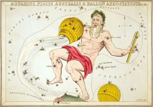 An illustration of Aquarius the Water Bearer, showing the jar tipped down with water flowing towards the mouth of the Southern Fish.