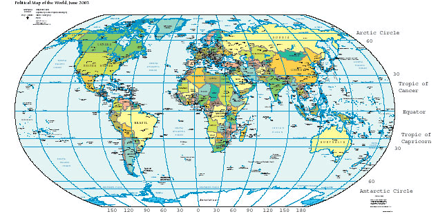 Map of the world with horizontal lines of latitude marked.