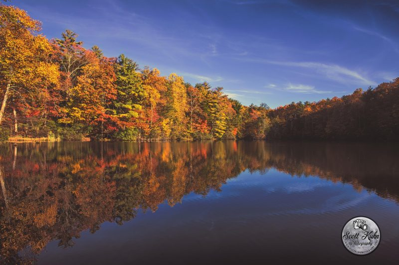 Yellow, orange, and green trees under a blue sky with reflection in a calm mirror-like lake.