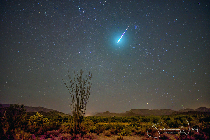 Bright streak with very bright head in starry sky above desert landscape.