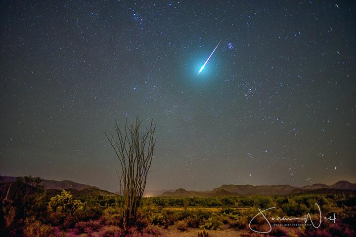 Bright streak with very bright head in starry sky above desert landscape.