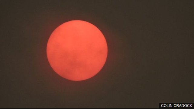 The UK had a red sun Monday