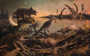 A depiction of the small rat-like mammals, that lived 145 million years ago, believed to be the earliest known ancestors of most modern mammals, including humans. Image courtesy of Dr Mark Witton, palaeo-artist, University of Portsmouth.