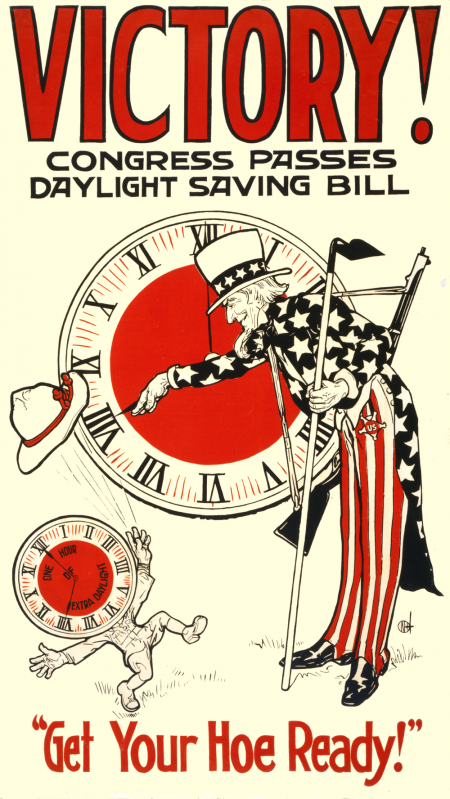 Uncle Sam pointing at a clock dial with words Victory and Get your hoe ready.