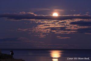 Full moon shining over water.