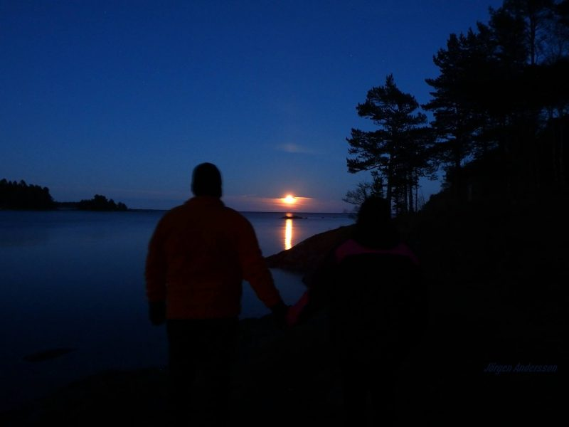 Person standing silhouetted against sea inlet with moon rising over horizon.