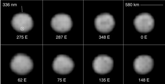 Eight images of roundish gray object with slightly different markings.