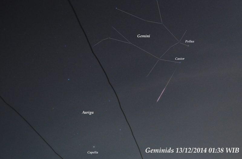 Straight white streak in dark sky with several stars labeled.